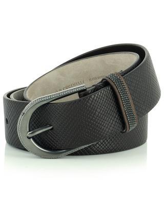 Textured leather belt with monili details BRUNELLO CUCINELLI