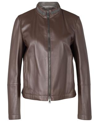 Stand up collar leather jacket BRUNELLO CUCINELLI