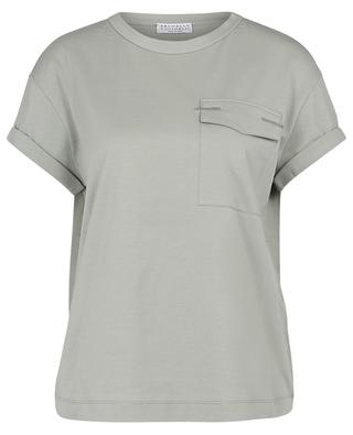 Jersey-T-Shirt mit Monile-bestickter Pattentasche BRUNELLO CUCINELLI