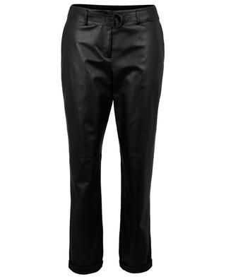 Pantalon droit en cuir et laine Fallon AKRIS PUNTO
