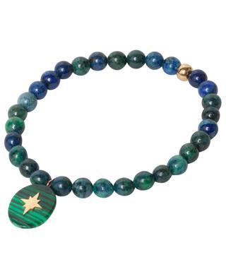 Bracelet de perles bleu-vert avec pendentif en acier MOON°C PARIS
