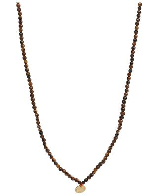 Long brown stone necklace with medals MOON°C PARIS