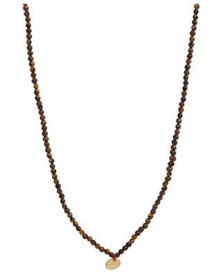 Lange Halskette aus braunen Steinen mit Medaillen MOON°C PARIS