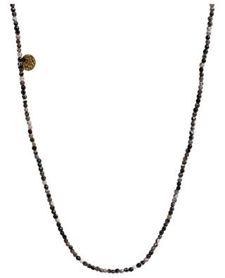 Long necklace in grey and black toned stones MOON°C PARIS