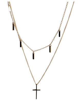 Golden two-strand necklace with cross MOON°C PARIS