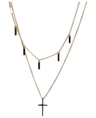 Collier doré à deux chaînes pendentif croix MOON°C PARIS