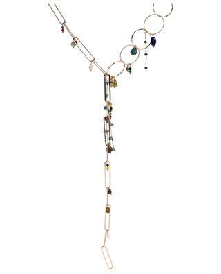 Collier doré en Y avec pierres et perles MOON°C PARIS