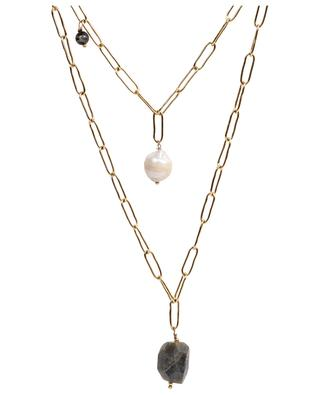 Goldene zweistrangige Halskette mit Steinen und einer Perle MOON°C PARIS
