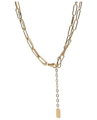 Collier doré à deux chaînes orné de pierres et d'une perle MOON°C PARIS