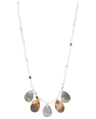 Lange Halskette mit Perlen und Schmucksteinen MOON°C PARIS