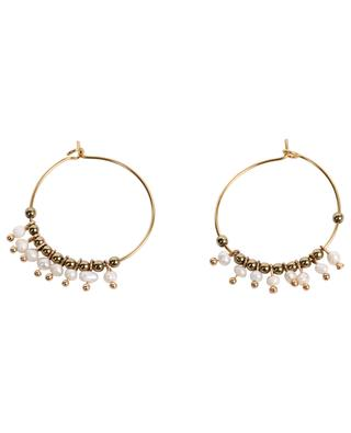 Hoop earrings embellished with white pearls and bronze beads MOON°C PARIS