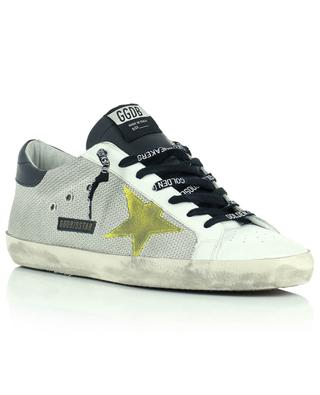 Sneakers aus Mesh, weissem Leder, gelber Stern Super-Star Classic GOLDEN GOOSE