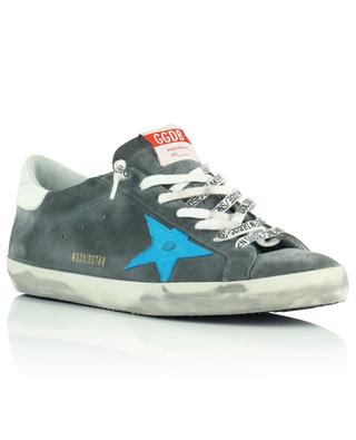 Super-Star Classic grey suede sneakers with turquoise croc star GOLDEN GOOSE