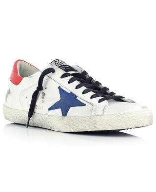 Baskets en cuir blanc et rouge, étoile bleue Super-Star Classic GOLDEN GOOSE