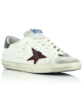 Weisse Ledersneakers mit Wildleder Stern in Bordeaux Super-Star Classic GOLDEN GOOSE