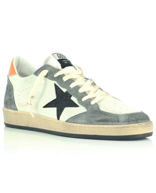 Ballstar grained leather and suede sneakers with shiny black star GOLDEN GOOSE