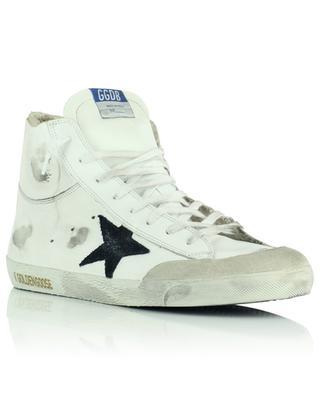 Hohe Used-Look-Sneakers aus weissem Leder mit schwarzem Stern Francy Double GOLDEN GOOSE