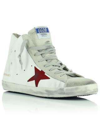 Baskets blanches étoile rouge détail zèbre Francy Classic GOLDEN GOOSE