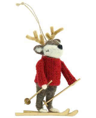 Deer on Skis Christmas ornament in felt SASS & BELLE