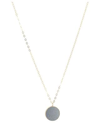 Ever Blue Sand Stone Disc On Chain pink gold necklace GINETTE NY