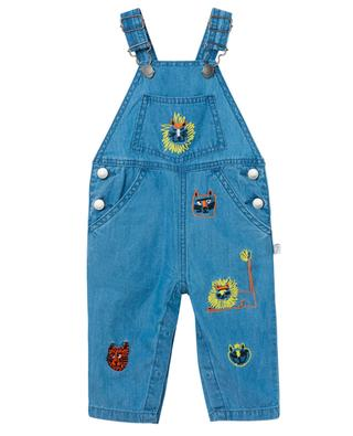 Wild Cats embroidered chambray dungarees STELLA MCCARTNEY KIDS