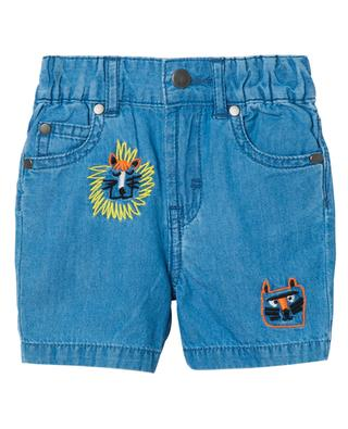Chambray-Baby-Shorts mit Stickerei Wild Cats STELLA MCCARTNEY KIDS
