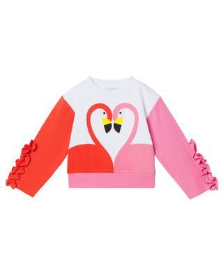 Sweat-shirt filles orné de volants et imprimé Flamingo STELLA MCCARTNEY KIDS