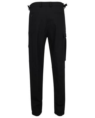 Matt Black tapered technical wool cargo trousers MONCLER