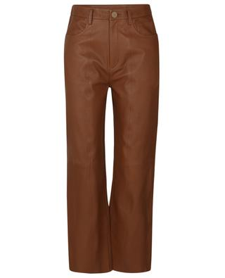Caramel high-rise straight fit trousers in nappa leather FORTE FORTE