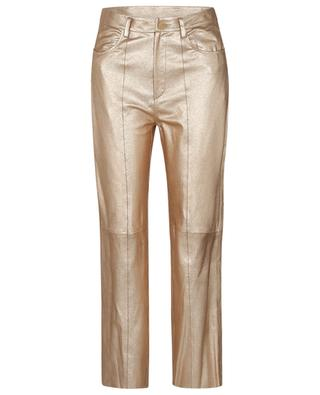 Lamé Nappa straight fit trousers in golden leather FORTE FORTE