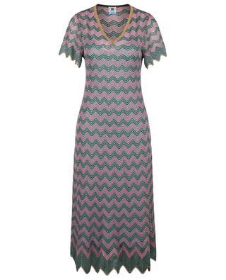 Midilanges Lochstrick-Kleid mit rosa und grünen Zickzackmustern M MISSONI