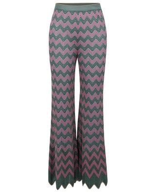 Lochstrickhose mit weitem Bein und grün-rosa Zickzackmotiven M MISSONI