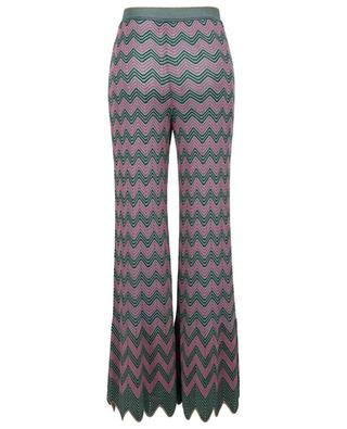 Openwork knit wide-leg trousers with green and pink zigzags M MISSONI