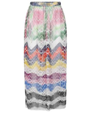 Sheer knit wide leg trousers with multicolour zigzag patterns MISSONI MARE