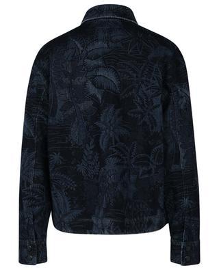 Frayed denim overshirt with leaf print MARC CAIN