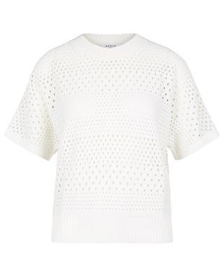 Organic cotton open-work boxy jumper with polka dots AKRIS PUNTO
