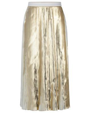 Plissierter goldener Midirock Gold Techno Georgette VALENTINO