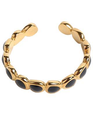 Offener goldener Ring mit blauem Emaille Lumi BANGLE UP