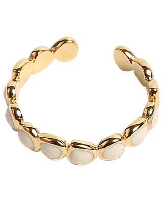 Offener goldener Ring mit weissem Emaille Lumi BANGLE UP