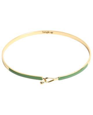 Bracelet doré orné d'émail kaki Lily BANGLE UP