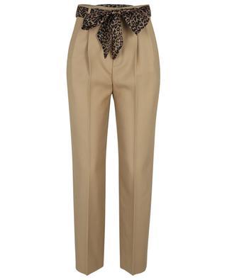Pantalon à pinces en gabardine de laine avec ceinture en soie SAINT LAURENT PARIS