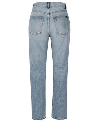 Used-Look-Jeans mit hoher Taille und geradem Bein Authentic Hawaii Blue SAINT LAURENT PARIS