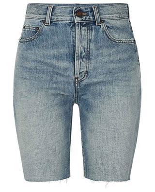 Distressed straight fit denim shorts SAINT LAURENT PARIS