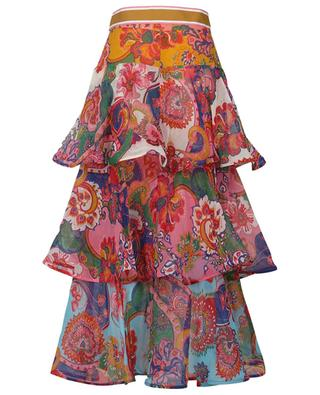 The Lovestruck Flounce printed georgette midi skirt ZIMMERMANN