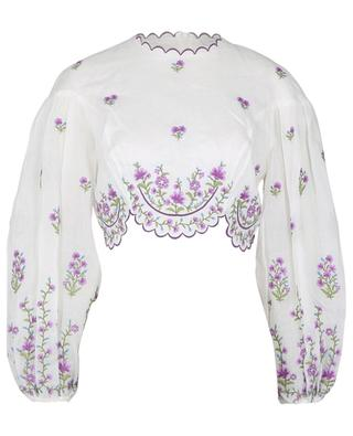 Poppy cropped floral linen top ZIMMERMANN