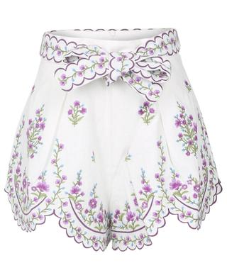 Bestickte Shorts aus Leinen Poppy Floral Scallop ZIMMERMANN