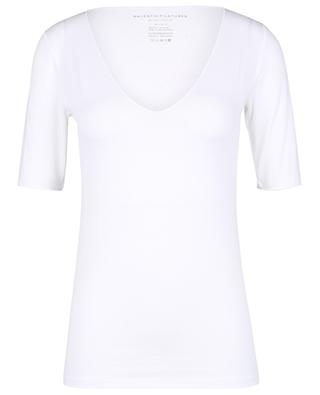 Kurzarm-T-Shirt mit weitem V-Ausschnitt Superwashed 'Soft Touch' MAJESTIC FILATURES