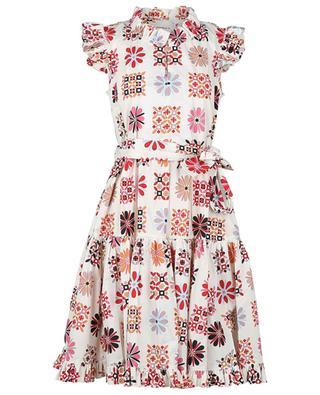 Kurzes A-förmiges Kleid mit Print Short and Sassy Vetrata Bianco LA DOUBLEJ