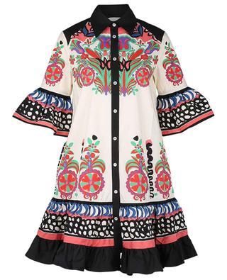 Kurzes Popeline-Kleid mit Schoss und Print Choux Calata LA DOUBLEJ