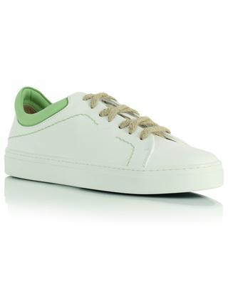 Weisse niedrige Sneakers aus veganem Leder mit grünen Details Neven Stitch YATAY